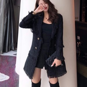 Runway Designer Women's Double Breasted Metal Button Long Sleeve Notched Collar tassel Jacket Wool Blends Tweed Coat