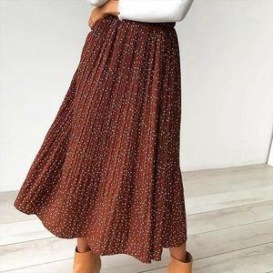 White Dots Floral Print Pleated Midi Skirt Women Elastic High Waist Side Pockets Skirts Summer 2020 Elegant Female Bottom
