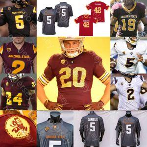 Özel Arizona State ASU Futbol Jersey NCAA Kolej DeaMonte Trayanum Rachaad Beyaz Lole Tyler Johnson Frank Darby Daniels Harry Aiyuk