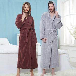 Kış Havlu Bornoz Kadın Erkek Havlu Robe Büyük ve Uzun Towel Bornoz Erkek Terry Bez Banyo Robe Uyuyan Kimono Soyunma Elbisesi
