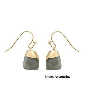 European and USA Hot Selling Earrings Natural Stone Crystal Earring Stud for Women and Girls Irregular Cutting Designer Earrings