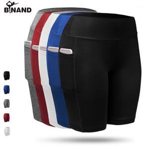 Binand Haute ÉLASSAIRE Pochette Side Femmes Sports Shorts rapides Dry Running Collant Leggings Fitness Fitness Outness Yoga Pantalon1