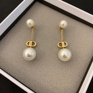 Neue doppelte D-Buchstabe Pearl Anhänger Ohrringe Schmuck Geeignet für Frauen 14K Gold Ohrringe Freies Verschiffen
