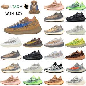 2021 Kanye West 380 V3 Top Fábrica Qualidade Homens Sneakers Alien Névoa Preto Camo Mulheres Running Shoes Recibo Meias Chaveiros Tags Terno # 562