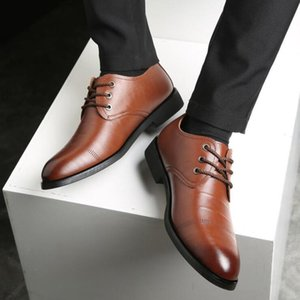 YEELOCA Men's Brand Leather Formal Shoes Lace Up Dress Shoes Oxfords Fashion Retro Elegant Work Footwear Drop Shipping