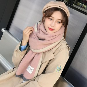 OLOEY Winter Thickness Patchwork Sticker Women's Scarf 2020 Fashion New Soft Warm Shawls Casual Streetwear Scarves For Ladies