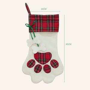Paw Weihnachtsstrumpf Plaid Geschenktüte Weihnachten Strümpfe Socken Weihnachtsbaum hängende Ornamente Dekorationen Partei-Dekor Pendent GGA3781-1