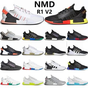 Japan NMD R1 V2 mens running shoes Black Carbon Shock Yellow triple black red white blue men women stylist sneaker trainers