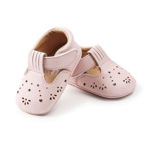 WONBO Nueva llegada Baby Mocasines lindo Hollow T-Strap Baby Girls First Walkers PU cuero zapatos infantiles1