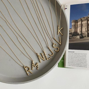 Pendant Necklaces 2021 Arrival 925 Sterling Silver 26 Capital Letters Irregular Pendants Jewelry Necklace For Women Gift