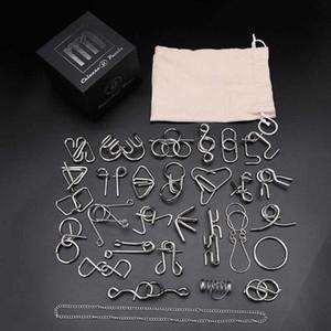 28pcs Metal Wire Puzzle Set Brain Teaser IQ Test Game Unlock Interlock Game Fidget Toy Kids Adults Challenge Gift 200930