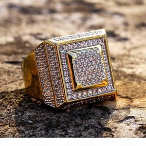New Fashion 18K Gold Plated White CZ Zirconia Rectangle Rings Diamond Hip Hop Punk Jewelry Gifts for Men & Women 20mm Size 7-11 Wholesale