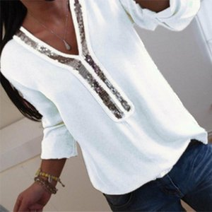 womens clothing Ladies Women Sequins Office Top Blouse V Neck Casual Loose Plus Size Tops