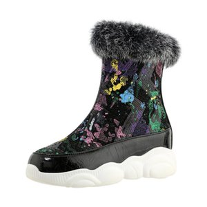 Real Fur Flat-Bottomed Special Sequins Material Graffiti Pattern Ankle Boots Inner Heightening Set Feet Design Short Boot