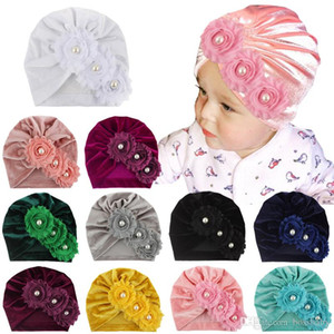 Baby Girls Hats Infant Solid Floral Pearl Caps Kids Gold Velvet Slouchy Beanies Skull Caps Toddler Baby