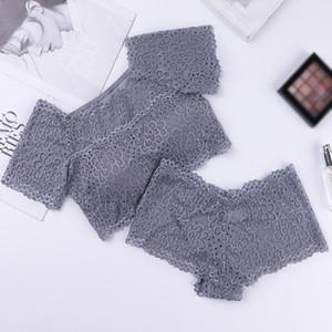 Summer Lace Bra Set Women Short-sleeved Vest Brief Set Mesh Female Vest Underwear