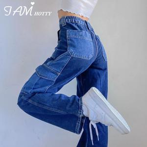 Patchwork Straight Wide Leg Woman Jeans Stretchy High Waist Baggy Mom Cute 90s Y2K Denim Boyfriend Streetwear 2020 New Iamhotty