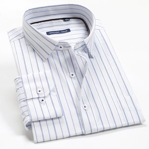 3XL-12XL large size men's classic striped long-sleeved 2020 autumn brand clothing business gentleman casual fashion shirt Q1231