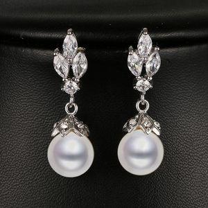Emmaya Fashion Marquise Forme Cz perle d'or blanc couleur nuptiale de mariage boucle d'oreille Nouvelle arrivée Beau cadeau