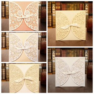 KAIZPA 25pcs A Set Laser Cut Invitations Cards, Lace Invitation Kit for Wedding Bridal Shower Birthday Party