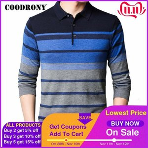 COODRONY Brand Sweater Men Spring Autumn Pull Homme Casual Turn-down Collar Pullover Mens Striped Knitwear Shirt Clothing C1053 Q1110