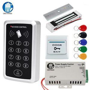 OBO Door Access Control System Kit RFID Keypad Waterproof Cover + 180KG Magnetic Strike Electronic Lock + Power Supply+5 Keyfobs1