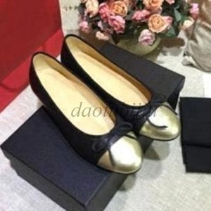 Woman Dress shoes Designer Genuine soft Leather Rhombic Ladies Bow Shoes luxury Letter Classic woman Sheepskin Flat boat shoes size 34-42SS2