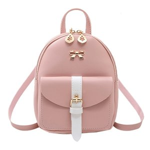 Bags Mini Bagpack Kawaii Bow-knot For School Backpack Graceful Girls Pu Cute Small Women's Luxury Leather Leaf Hollow Kfniq Afqlo