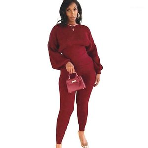 Plus Size Women Clothing Two Piece Set Casual Puff Long Sleeve Tops and Pants Stretchy Tracksuit Outfits Wholesale Dropshipping1