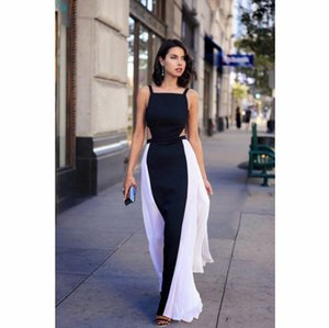 Modern Black And White Formal Evening Celebrity Dresses 2021 Spaghetti Straps A Line Backless Women Long Special Occasion Prom Dress AL7327