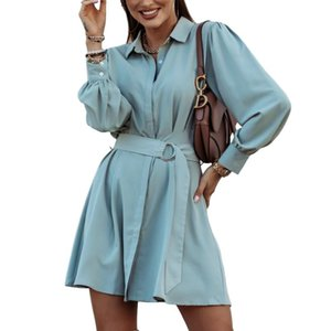 2020 Autumn Women Dress Long Sleeve Turn Down Collar Solid Party Mini Vesitdos Y1339B