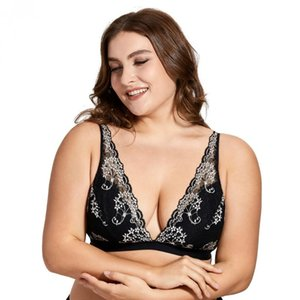 Women's Sexy Deep-V Wire-Free No Padded Triangle Bralette Plunge Floral Lace Bra