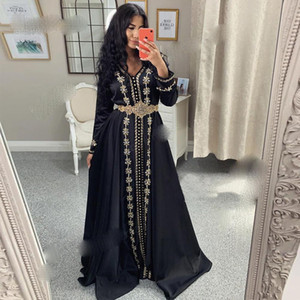 Moroccan Kaftan Evening Dresses 2021 Long Sleeves V Neck Muslim Prom Dress Arabic Party Dress Custom Size