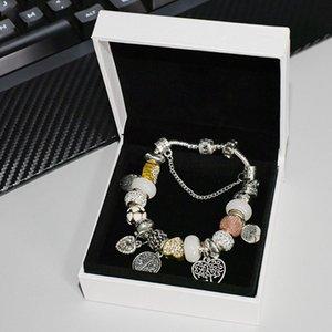 Bracelet pendentif de charme de mode pour bijoux avec boîte argentée bricolage bracelet perlé bracelet en forme de cœur CZ Diamond dames