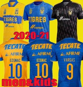 Bambini da uomo 2020 2021 Uanl Tigres Gignac Soccer Jerseys Kit 19 20 21 Vargas Camiseta Maillot Casa Away Third Pizarro Mexico Camicie da calcio