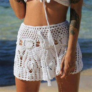 2020 Women Summer Beach Crochet Mini Skirt Bikini Cover Up Hight Waist Hollow Swimwear Bathing Suit Wrap