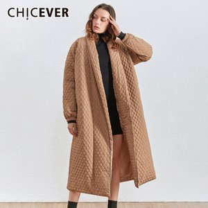 CHICEVER Korean Plaid Cotton Coat For Women Lapel Collar Lantern Sleeve Oversize Loose Casual Long Female Parkas Winter New 201109
