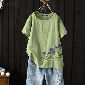 Zanzea estate camicia da ricamo camicetta da donna vintage manica corta Blusas allentato chemise femininas casual tunic top mujer y200402