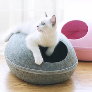New Cat House Nest With Zipper Detachable Cushion Dog Mat Egg Shape Dog Kennel Cat Bed Felt Cloth Cats Cave Sleeping Mat Pet Bed
