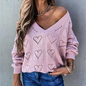 ThornTree Autumn Winter Love Pattern Women Sweater Long Sleeve V-neck Loose Pullover Casual Streetwear Hollow Out Swaeter 2020