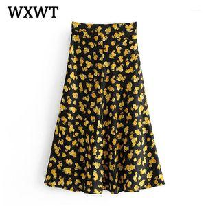 WXWT Femmes Watermark Dreamy and Elegant Jaune Impression Floral Jupe Vintage Zipper Bureau Dames Noble Chic Midi Jupes LDZZ6371