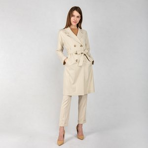 In Stock Ladies Stripes Wind Coat Women Spring Autumn Button Decoration Jacket with Belt Fashion Clothing