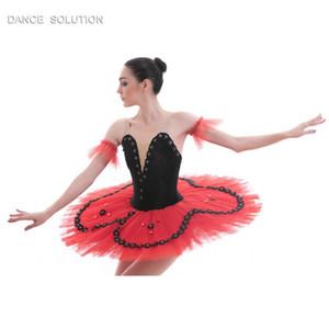 Black Velvet Red Tulle Ballet Tutu Pancake Dance Costume Stage Performance Pre-professional Tutu Girl & Women