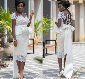 Plus Size Lace Mother Of The Bride Dresses Sheer Neck Appliques Short Sleeve Bridal Gowns Tea Length African 2021 Wedding Guest Dress AL8194