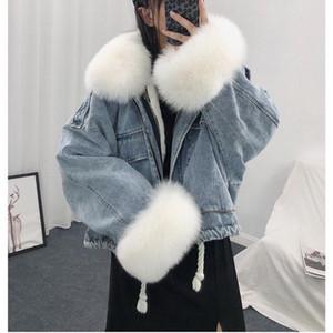 LUZUZI Warm Bomber Women's Winter Jacket Coat Female Jeans Jacket Basic Ladies Top Windbreaker Denim Jackets Overcoat Plus Size