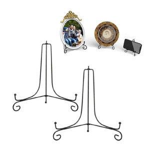5 Sizes Folding Iron Display Stand Easel Plate Holder for Displaying Picture Frames, Bowls Plates, Books and Arts