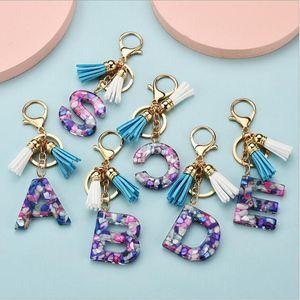 New fashionable 26 English alphabet keychain transparent acrylic crystal tassel pendant bag pendant pendant Christmas gift