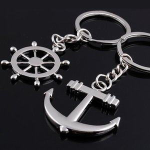 1 paire Rudder Anchor Key Chain 2018 Couple de mode Couple Key Runnings Bague Cadeau Keychain KeyRing Cadeaux
