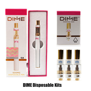 DIME Disposable Vape Pen 0.5ML Gold Tank Thick Oil Ceramic Coil 0.8ml Empty Carts With 350mAh Battery Cartridge Starter Kit