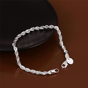 El encanto de plata pulseras pulsera de cadena chapada torcido Enlace brazaletes de las pulseras